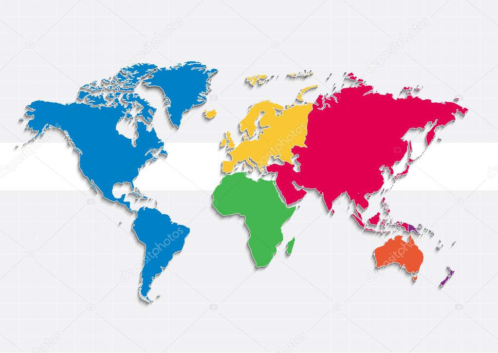 World Map Continents Colors Raster Individual Separate Continents
