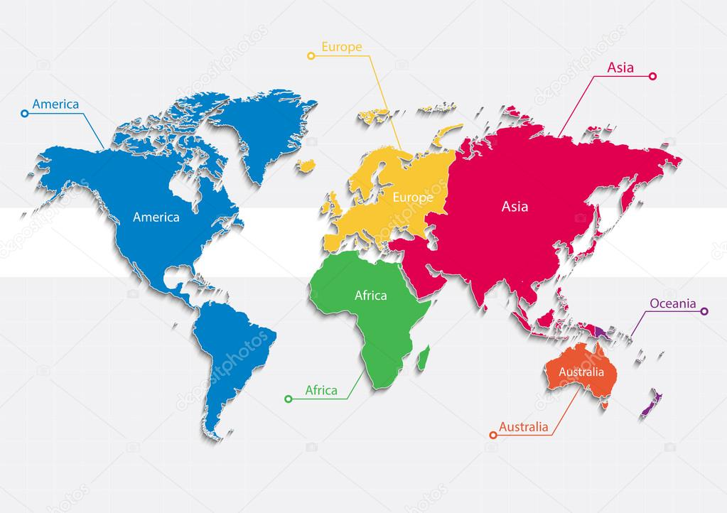 World Map Continents Colors Vector Individual Separate