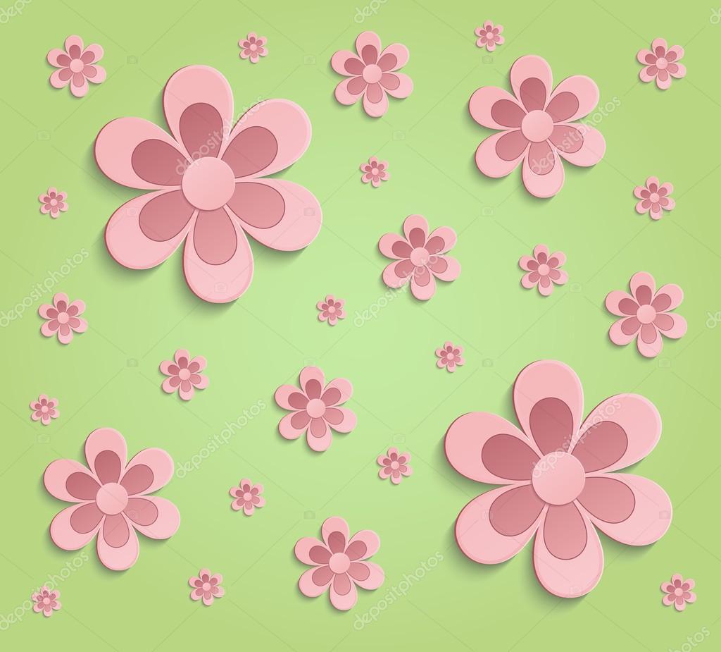Fondos De Pantalla De 3d Verde Rosa De Primavera Flores