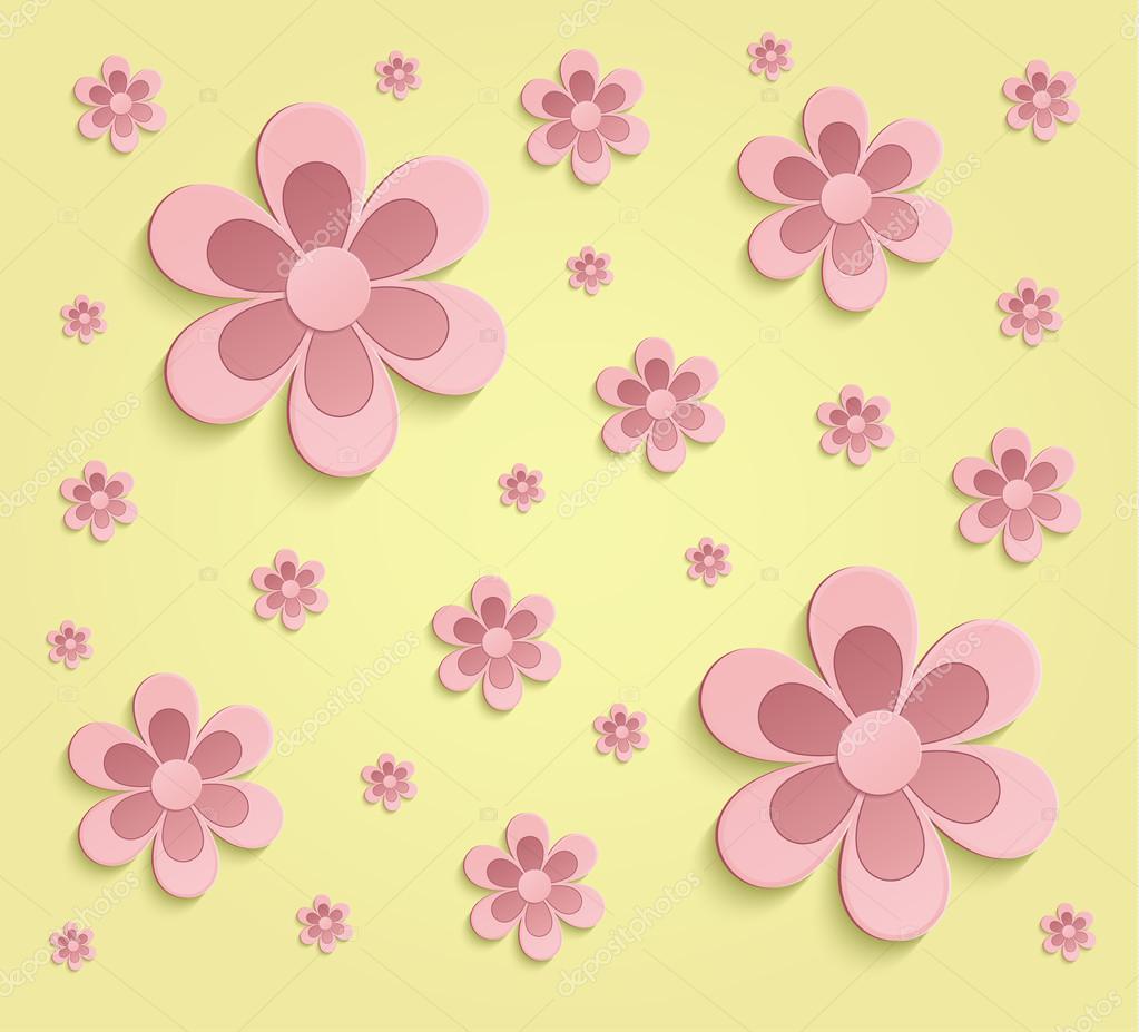 Primavera De Flores Papel 3d Amarillo Color De Rosa Fondos