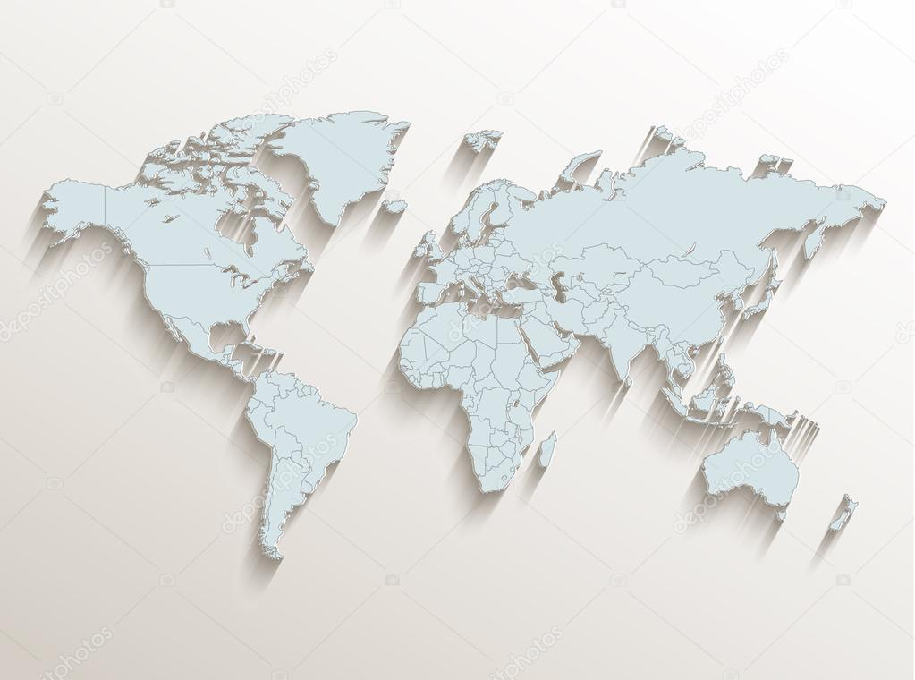 World political map white blue 3d raster stock photo mondih world political map white blue 3d raster stock photo gumiabroncs Images