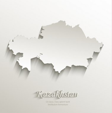 Kazakhstan map card paper 3D natural vector