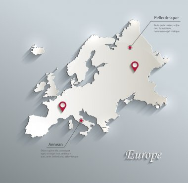 Europe map blue white card paper 3D vector infographics stock vector