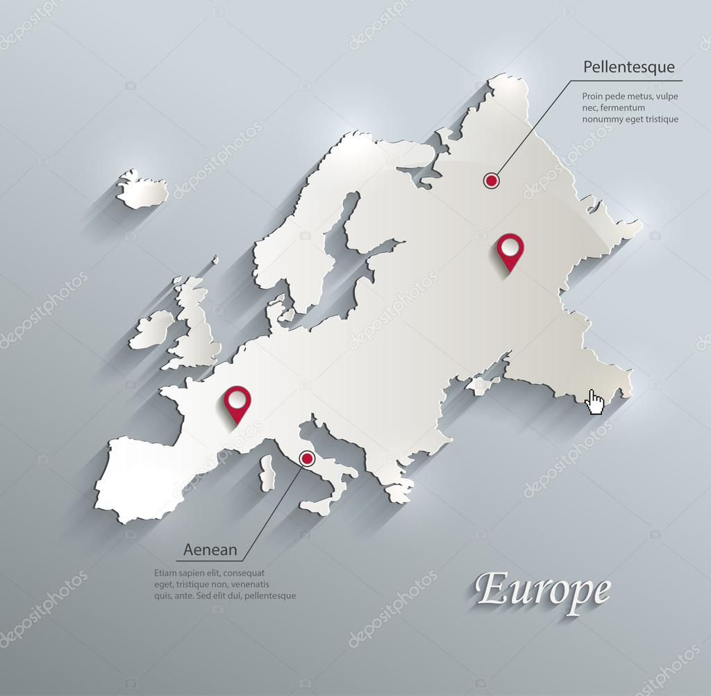 Europe Map Blue White Card Paper 3d Vector Infographics Stock