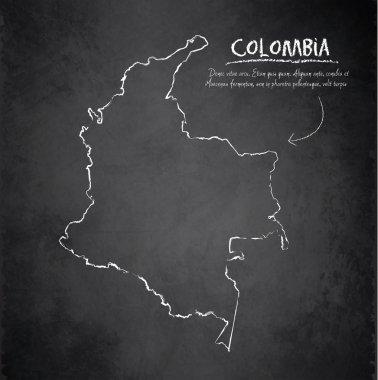 Colombia map blackboard chalkboard vector