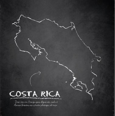 Costa Rica map blackboard chalkboard vector