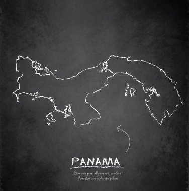 Panama map blackboard chalkboard vector