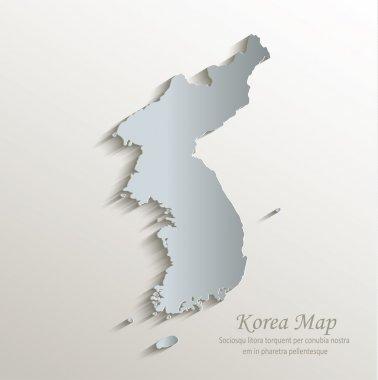 Korea map white blue card paper 3D vector