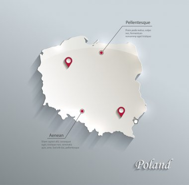 Poland map blue white card paper 3D vector