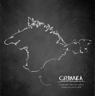 Crimea map blackboard chalkboard vector