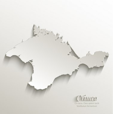 Crimea map card paper 3D natural vector