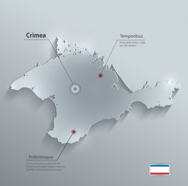 Crimea map flag glass card paper 3D vector