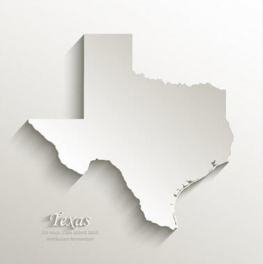 Texas map card paper 3D natural vector