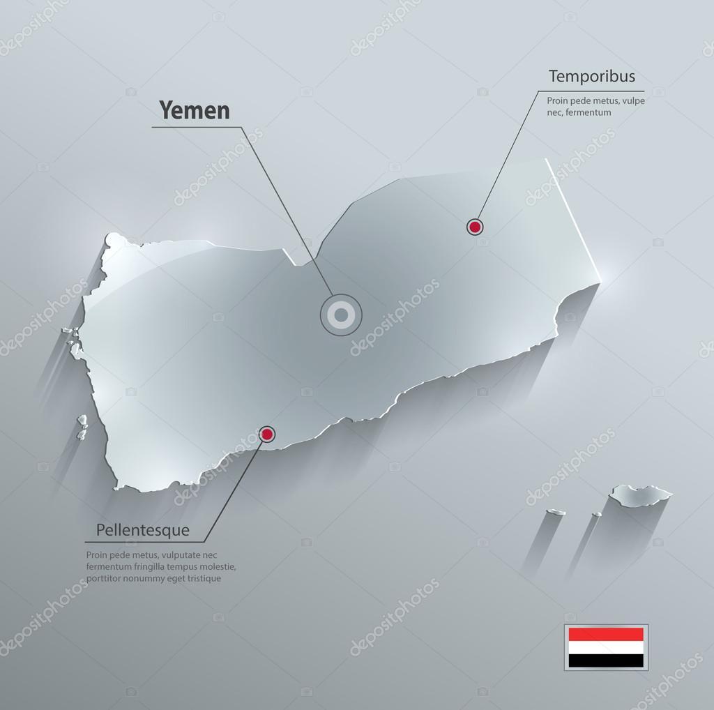 yemen kart Yemen harita bayrak cam kart kağıt 3B vektör — Stok Vektör © Mondi  yemen kart