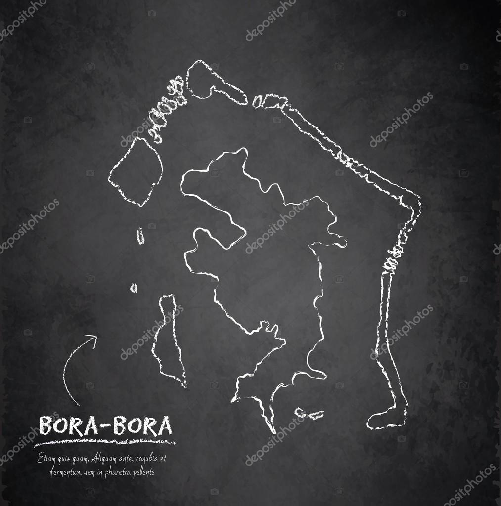 Vector De Pizarra De Pizarra De Mapa De Bora Bora Polinesia