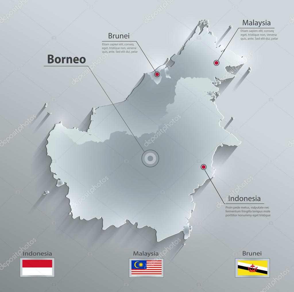 Borneo map glass card paper 3D vector Malaysia Indonesia Brunei