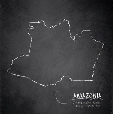 Amazonia map blackboard chalkboard vector