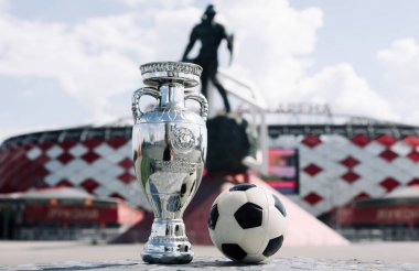 June 14, 2021, Moscow, Russia. European Football Championship Cup in front of Spartak Stadium - Otkrytie Arena.