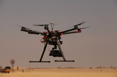 Aerial drone on blue sky