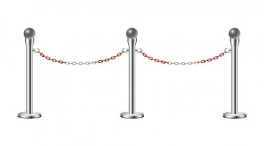 Stand chain barriers with red and white chain