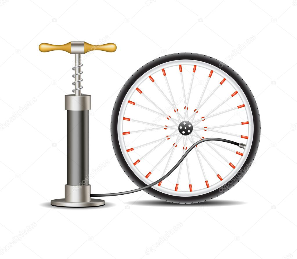 Air Pump With Bicycle Wheel Stock Vector Jirkapravda