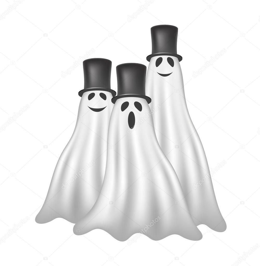 Tres fantasmas con sombreros negros — Vector de stock © Jirkapravda ...