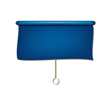 Vintage window sun blind cloth in blue design