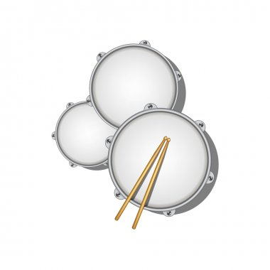 Three drums and pair of wooden drumsticks