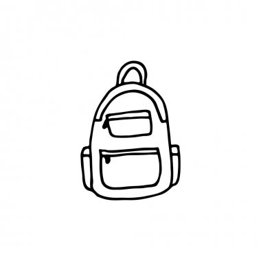 Doodle image of a backpack. Hand-drawn image for print, sticker, web, various designs. Vector element for the themes of travel, vacation, tourism. icon