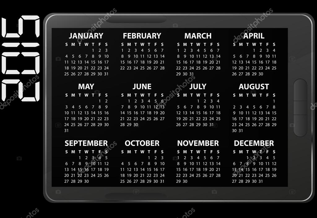 2015 Electronic Calendar Stock Vector C Willypd 53132685