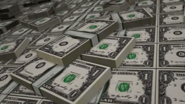 Smyčka dolarových bankovek. Jedna hromada peněz v USD. Pojem krize, bankovnictví, obchod, úspěch, recese, ekonomika, banka, dluh a finance. Kamera nad penězma. Loopable seamless 3d animation.