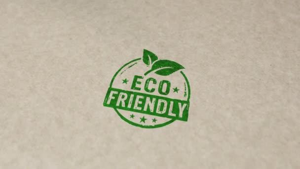 Ekologické razítko a ruční razítko dopad animace. Udržitelná ekonomika, zelená, životní prostředí, ekologie, organické, zdravé potraviny a přírodní životní styl 3D vykreslený koncept.