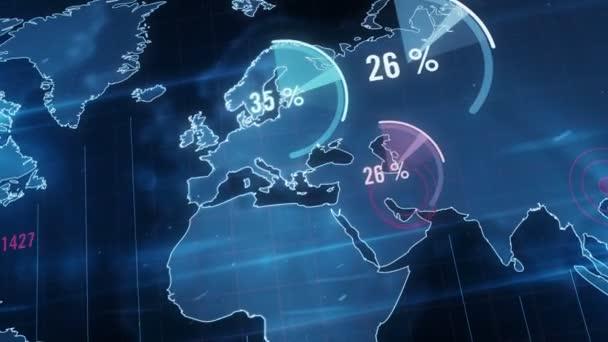Ekonomika, globální podnikání a finance 3D graf animace. Abstraktní firemní koncept světové krize a recese. Mapa modré koule na pozadí.