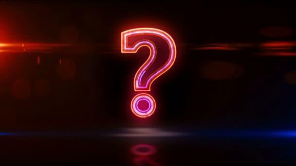 Otazník, symbol dotazu, ikona hledání a koncept poutka značky quiz. Futuristické abstraktní 3D vykreslování smyčky a bezešvé animace.