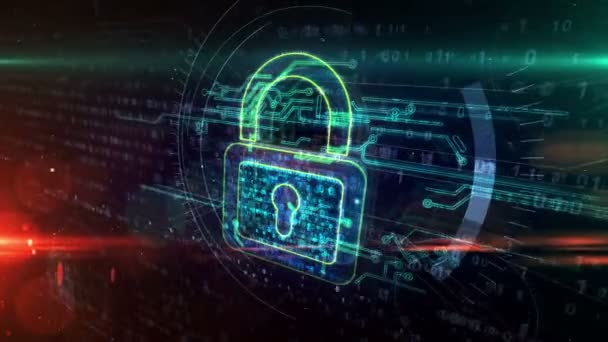 Koncept kybernetické bezpečnosti se symbolem visacího zámku, ochranou počítače a bezpečnostní ikonou systému. Futuristická abstraktní 3D animace vykreslování.