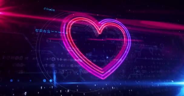 Szív szerelem szimbólum, egészségügyi jel, orvostudomány, kibertechnológia romantika, ai és kardio koncepció. Futurisztikus absztrakt 3D-s renderelés hurkolható animáció. Neon vázlat digitális háttér.