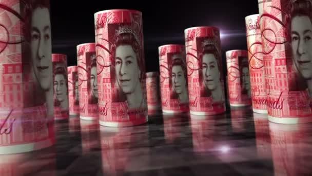 Pfund Sterling Rollen Schleife 3D-Animation. Geld auf dem Tisch. Kamera zwischen 50 GBP gerollte Banknoten. Nahtloses und lückenloses abstraktes Konzept von Wirtschaft, Finanzen, Bargeld, Brexit, Rezession und Schulden in Großbritannien.