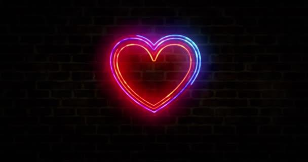 Srdce láska symbol, zdraví, kardio znamení na cihlové zdi, cyber tech romantiku a ai koncept smyčka koncept. Abstraktní 3D vykreslování smyčky a bezešvé animace.