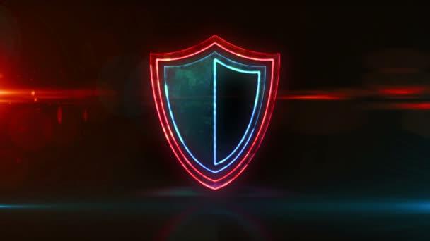 Cyber biztonsági koncepció pajzs szimbólummal, adatvédelemmel és internet biztonsági neon ikon hurokkal. Futurisztikus absztrakt 3d hurok és zökkenőmentes animáció.