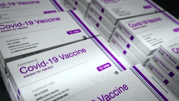 Covid-19 výrobní linka balení vakcíny. Koronavirus sars-cov-2 vakcinační příprava, balení a expedice. Krabička na stříkačky s dávkami. Abstrakt concept 3d rendering loopable seamless animation.