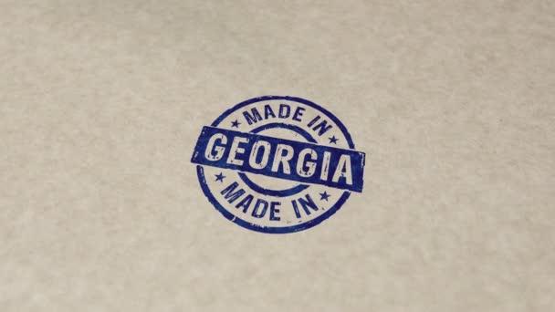 Grúziában készült bélyegző és kézlenyomat ütközés animáció. Gyár, gyártó és gyártó ország 3D kiolvasztott koncepció.