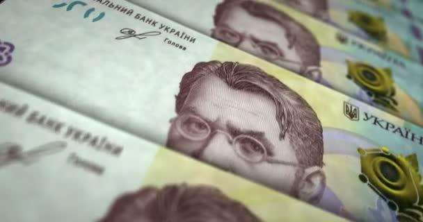 Ukrainische Hrywnja-Banknotenschleife. 1000 UAH Geld Textur. Konzept der Wirtschaft, Wirtschaft, Krise, Banken, Rezession, Schulden und Finanzen in der Ukraine. Über den Zettel gehen. Nahtlose 3D-Animation.
