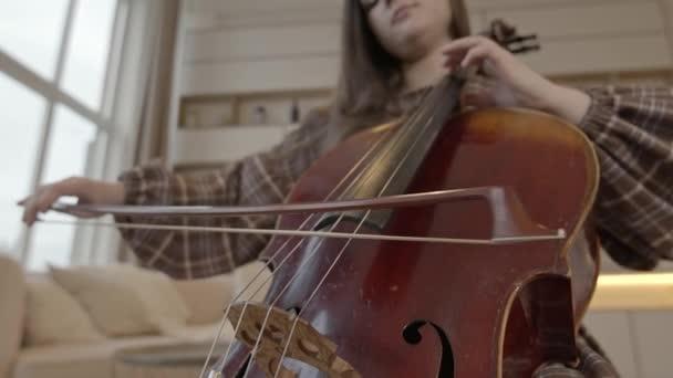 Mladá žena hudebník s lukem v ruce hrát violoncello doma interiér