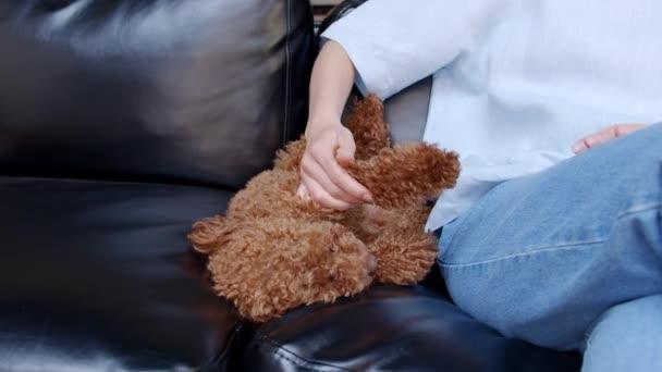 Žena ruce pečující o malého psa spí na pohovce