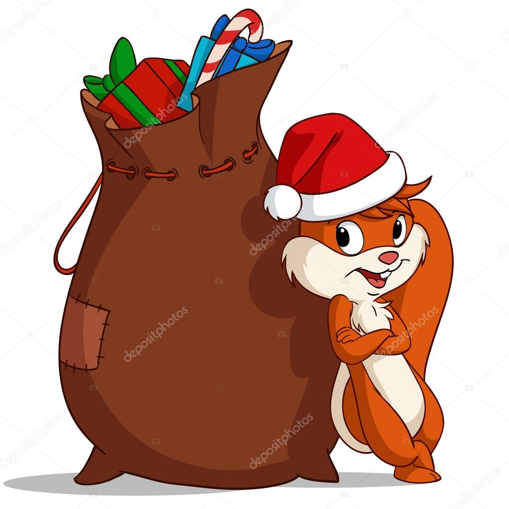 Cartoon Weihnachten Eichhörnchen Beutel mit Geschenk — Stockvektor ...