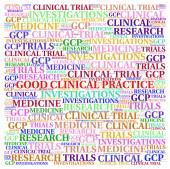 Fotografie Good Clinical Practice (GDP) concepts illustrate in word cloud.