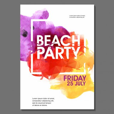 Summer Night Beach Party Vector Flyer Template - EPS10 Design stock vector