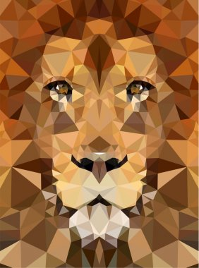 Geometric polygon lion head