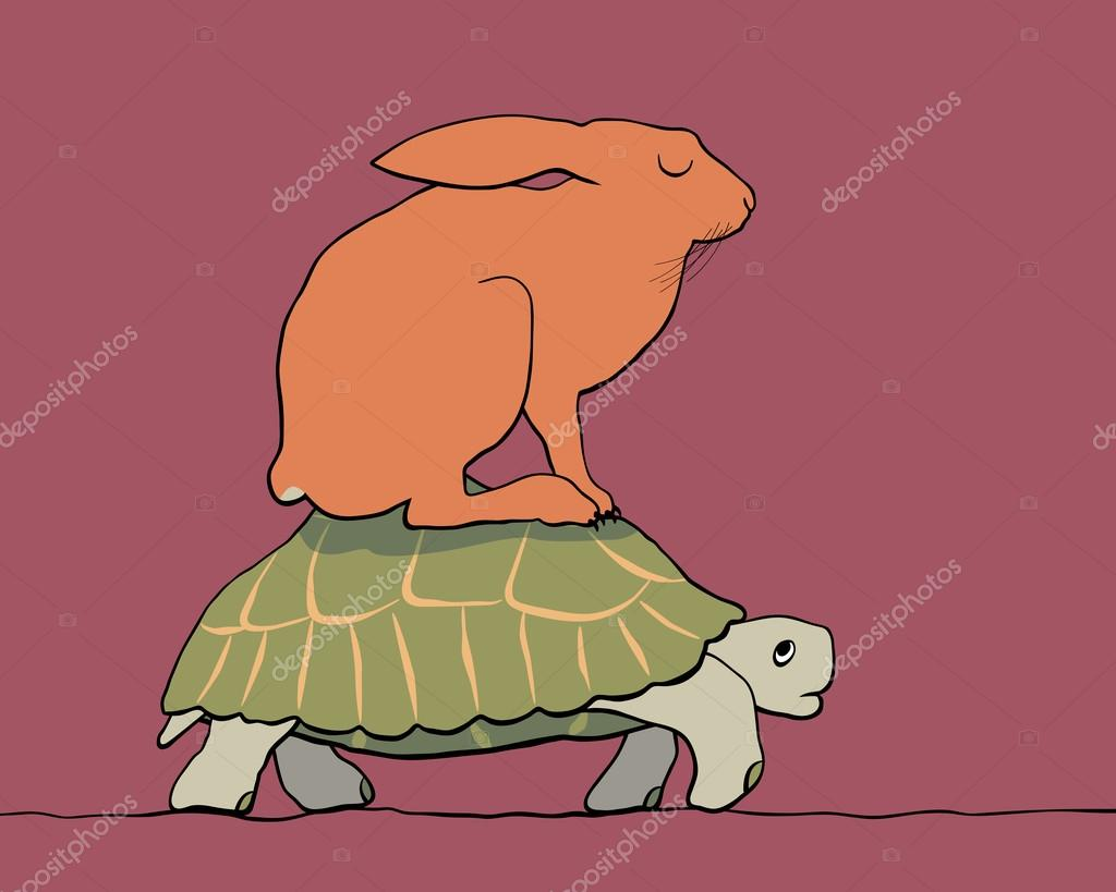 la liebre y la tortuga — Vector de stock © Tawng #94823704