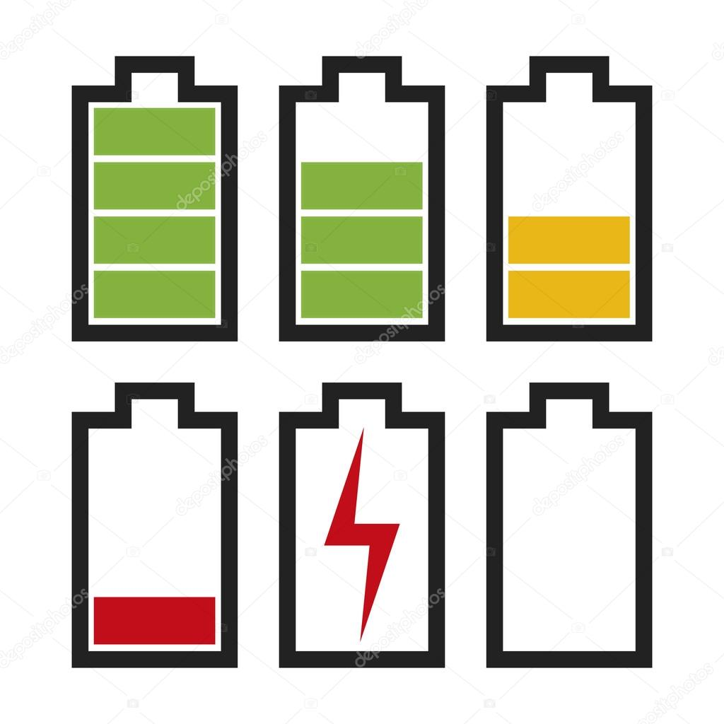 battery icons with different charge status � stock vector